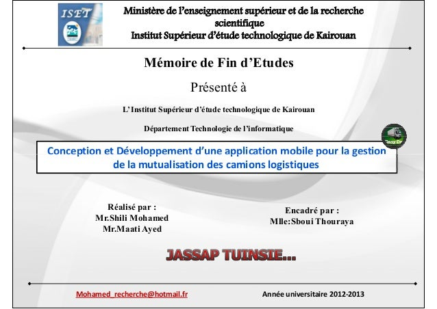 Ministère de l'enseignement supérieur et de la recherche scientifique Institut Supérieur d'étude technologique de Kairouan...