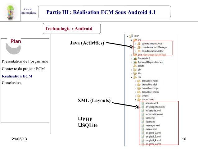 Génie          Informatique     Partie III : Réalisation ECM Sous Android 4.1                         Technologie : Androi...