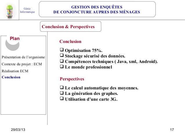Génie                   GESTION DES ENQUÊTES            Informatique        DE CONJONCTURE AUPRES DES MÉNAGES             ...