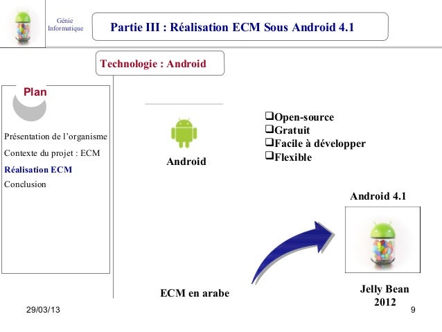 Génie             Informatique     Partie III : Réalisation ECM Sous Android 4.1                            Technologie : ...
