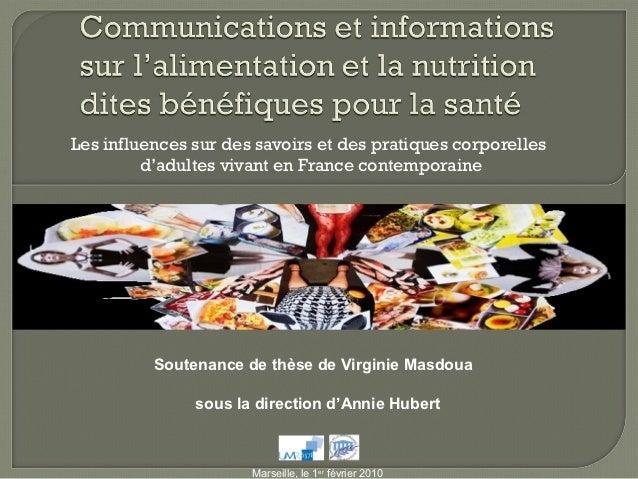 Les influences sur des savoirs et des pratiques corporelles         d'adultes vivant en France contemporaine          Sout...