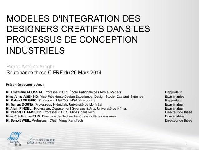 MODELES D'INTEGRATION DES DESIGNERS CREATIFS DANS LES PROCESSUS DE CONCEPTION INDUSTRIELS Pierre-Antoine Arrighi Soutenanc...