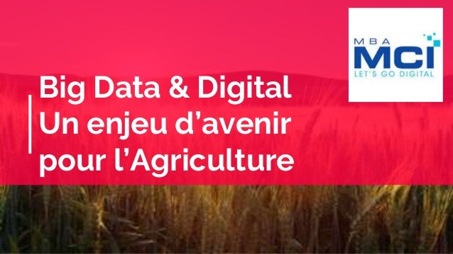 Big Data & Digital Un enjeu d'avenir pour l'Agriculture