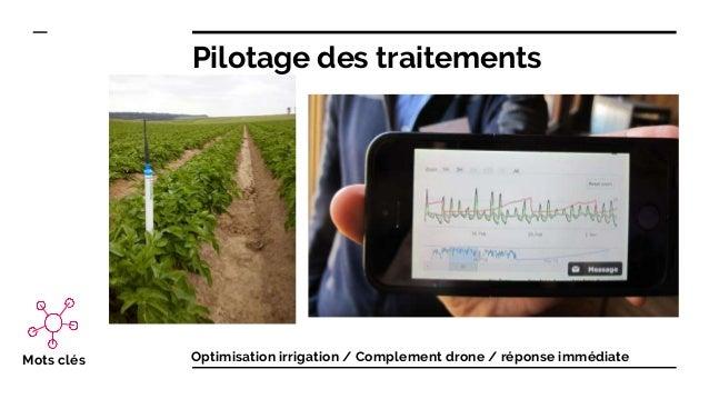 Pilotage des traitements Mots clés Optimisation irrigation / Complement drone / réponse immédiate
