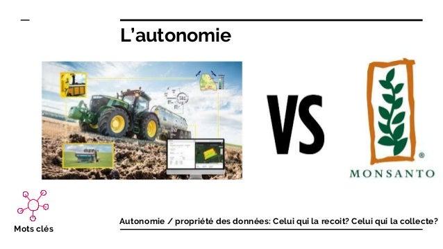 Mots clés Autonomie / propriété des données: Celui qui la recoit? Celui qui la collecte? L'autonomie