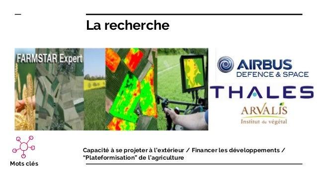 """Mots clés Capacité à se projeter à l'extérieur / Financer les développements / """"Plateformisation"""" de l'agriculture La rech..."""
