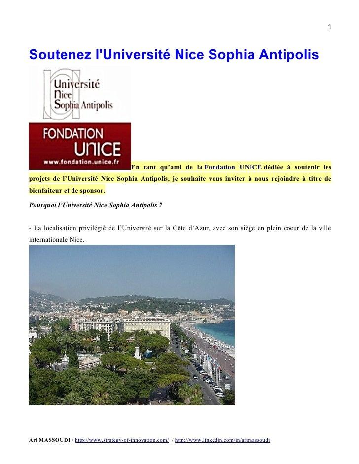 1Soutenez lUniversité Nice Sophia Antipolis                                       En tant qu'ami de la Fondation UNICE déd...
