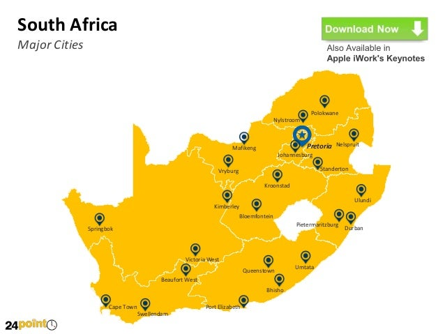 major cities of south africa map