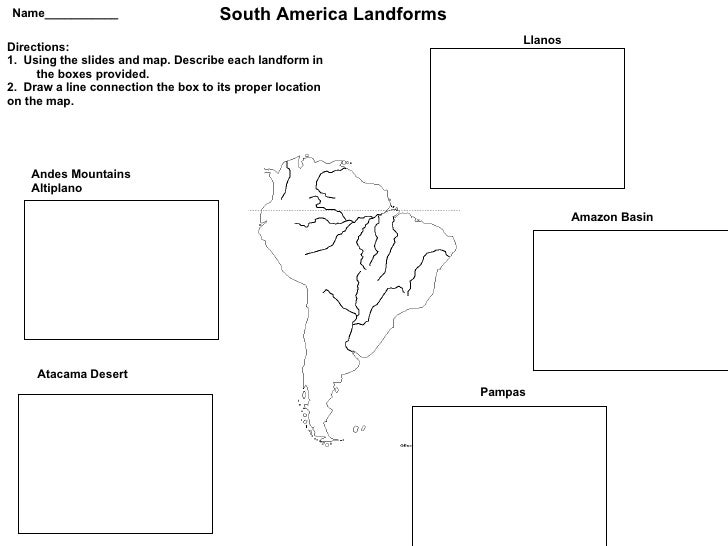 South America Landforms Power Pointand Worksheet