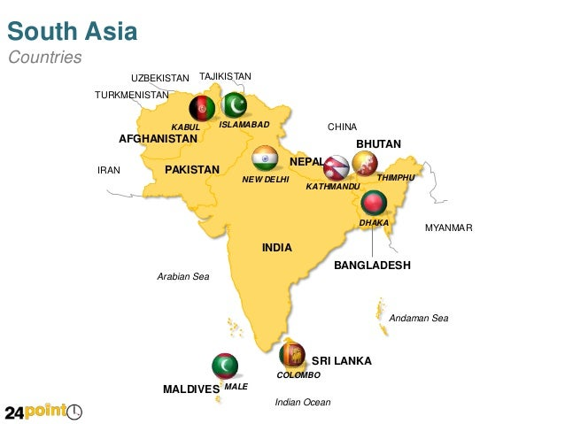 South Asia Map Countries And Capitals