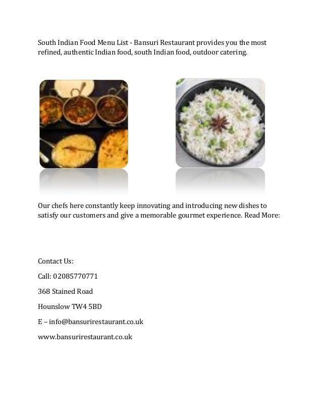 South Indian Food Menu List