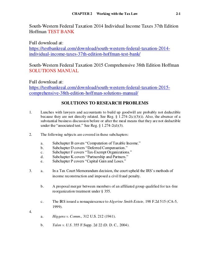 south western federal taxation 2014 individual income taxes 37th edit rh slideshare net Federal Taxation Solution Manual Progressive Taxation