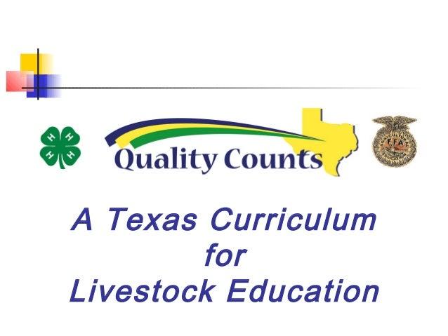 A Texas Curriculum for Livestock Education