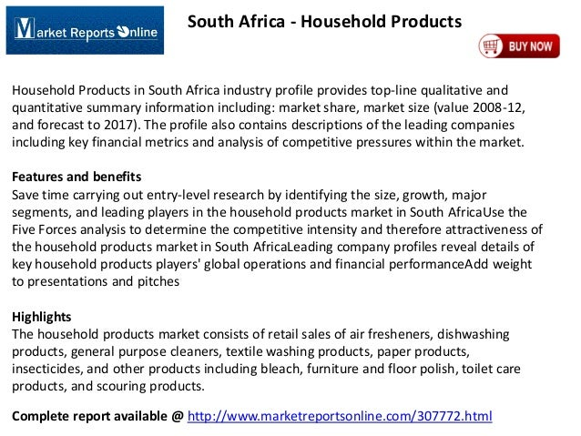 South Africa - Household Products  Household Products in South Africa industry profile provides top-line qualitative and q...