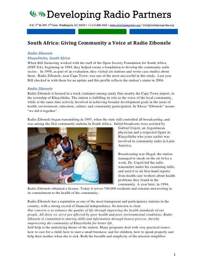 South Africa: Giving Community a Voice at Radio Zibonele  Radio Zibonele Khayelitsha, South...