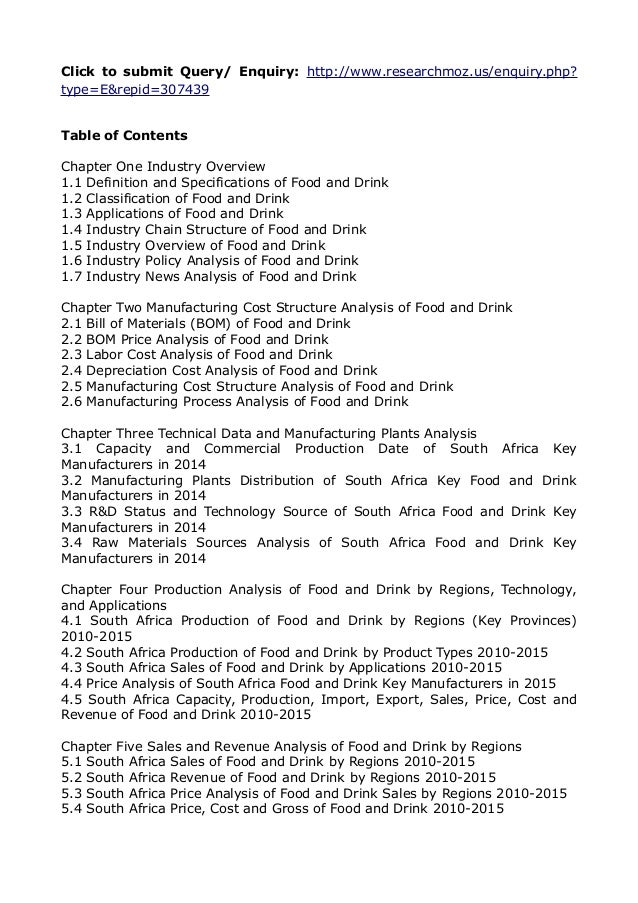 analysis on south african food industry Bmi's south africa food & drink report provides industry professionals and strategists, sector analysts, business investors, trade associations and regulatory bodies with independent forecasts and competitive intelligence on the food and drink industry and the mass grocery retail market in south africa.