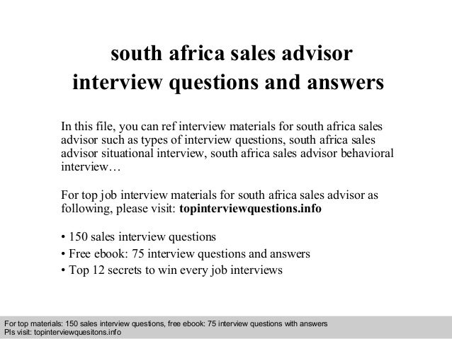 Interview questions and answers – free download/ pdf and ppt file south africa sales advisor interview questions and answe...