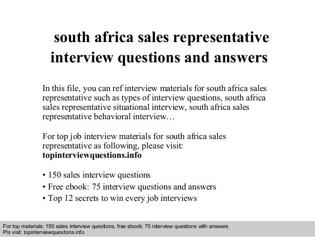 interview questions and answers free download pdf and ppt file south africa sales representative