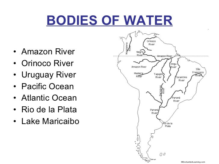 south america bodies of water map