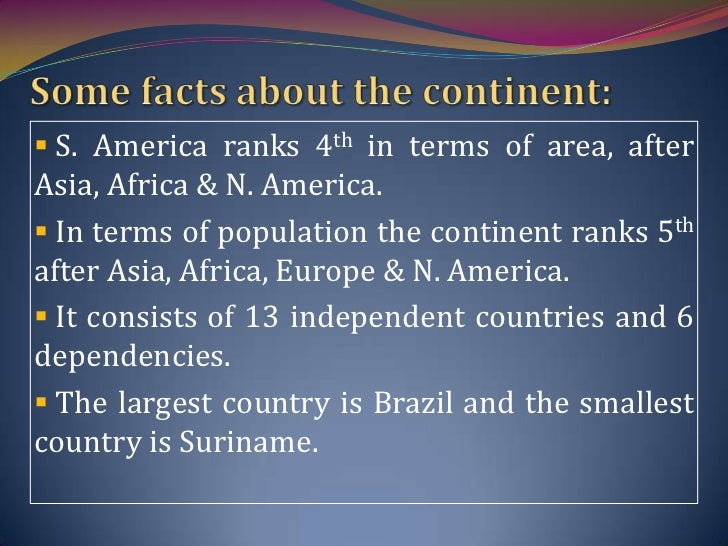 South america for Interesting facts north america