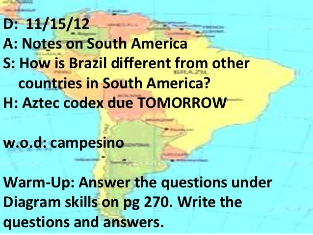 D: 11/15/12A: Notes on South AmericaS: How is Brazil different from other   countries in South America?H: Aztec codex due ...