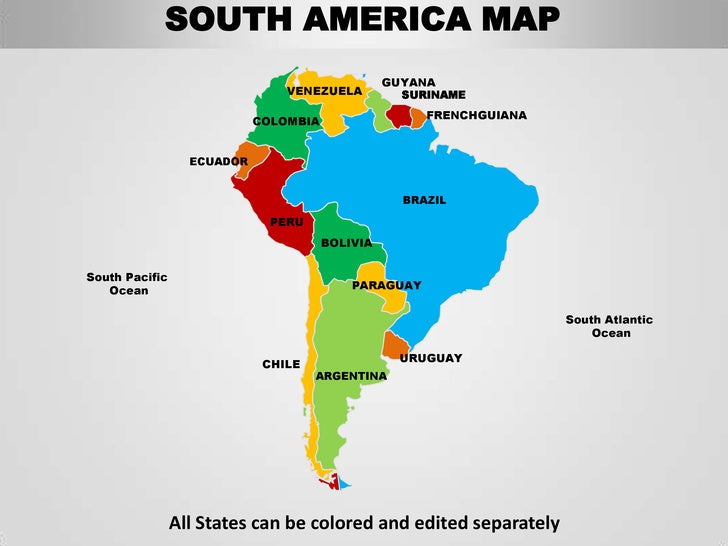 South america editable continent map with countries for What color is south america
