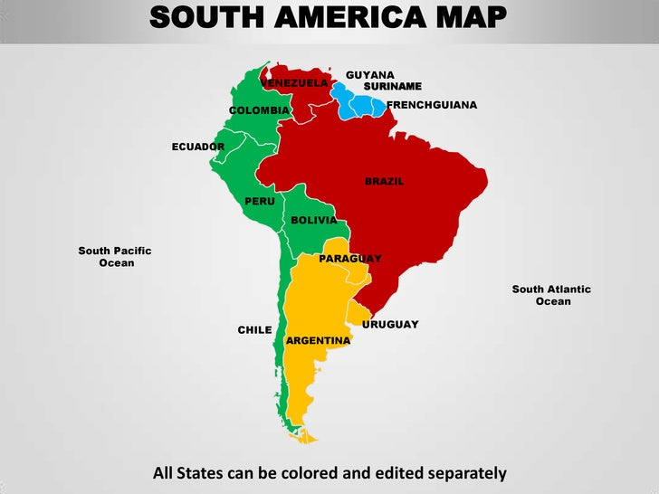 South America Editable Continent Map With Countries - Map of south american countries