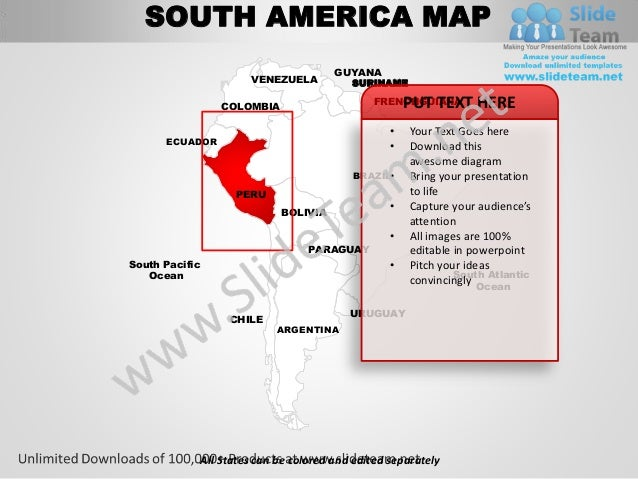 south america powerpoint editable continent map with countries templa