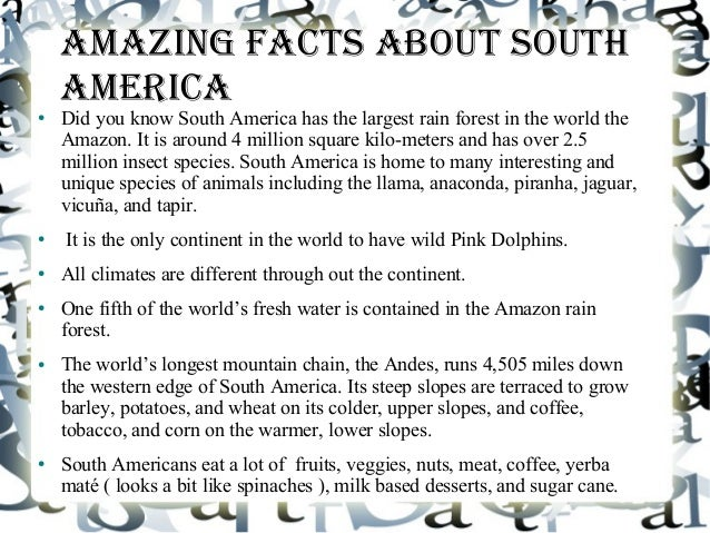 South america project for Interesting fact about america