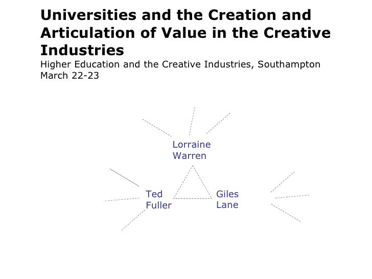 Universities and the Creation and Articulation of Value in the Creative Industries Higher Education and the Creative Indus...