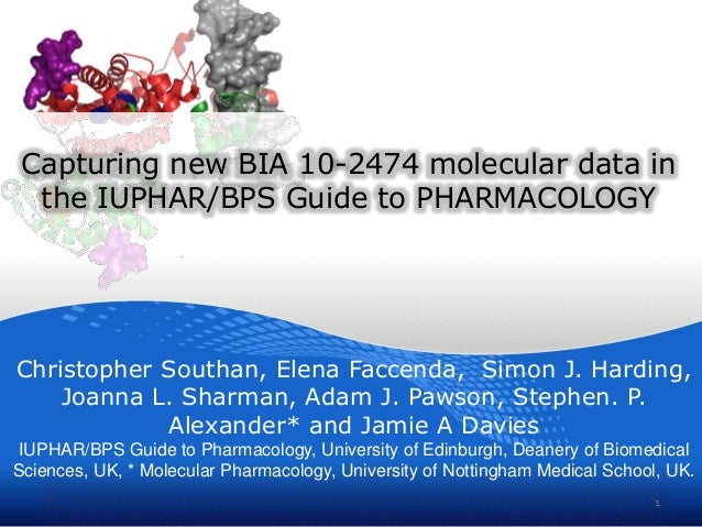 Capturing new BIA 10-2474 molecular data in the IUPHAR/BPS Guide to PHARMACOLOGY Christopher Southan, Elena Faccenda, Simo...