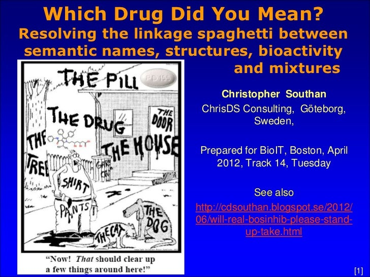 Which Drug Did You Mean?Resolving the linkage spaghetti betweensemantic names, structures, bioactivity                    ...