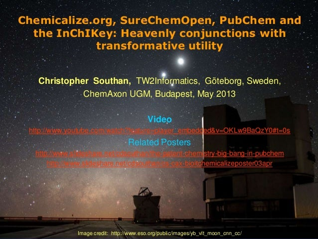 [1] Chemicalize.org, SureChemOpen, PubChem and the InChIKey: Heavenly conjunctions with transformative utility Christopher...