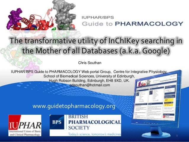www.guidetopharmacology.org The transformative utility of InChIKey searching in the Mother of all Databases (a.k.a. Google...
