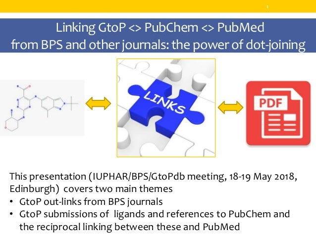 LinkingGtoP<> PubChem<> PubMed from BPS and other journals:thepowerof dot-joining 1 This presentation (IUPHAR/BPS/GtoPdb m...