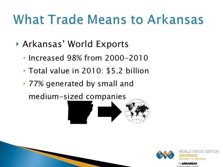 <ul><li>Arkansas' World Exports </li></ul><ul><ul><li>Increased 98% from 2000-2010 </li></ul></ul><ul><ul><li>Total value ...