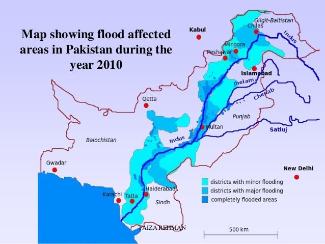 map showing flood affected areas in