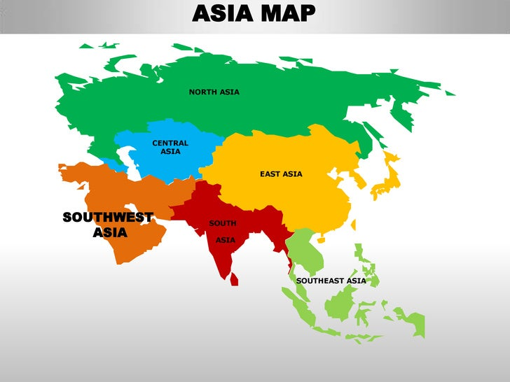 The Continent Of Asia Map.South Asia Editable Continent Map With Countries