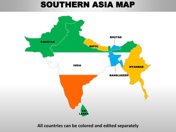 South asia editable continent map with countries