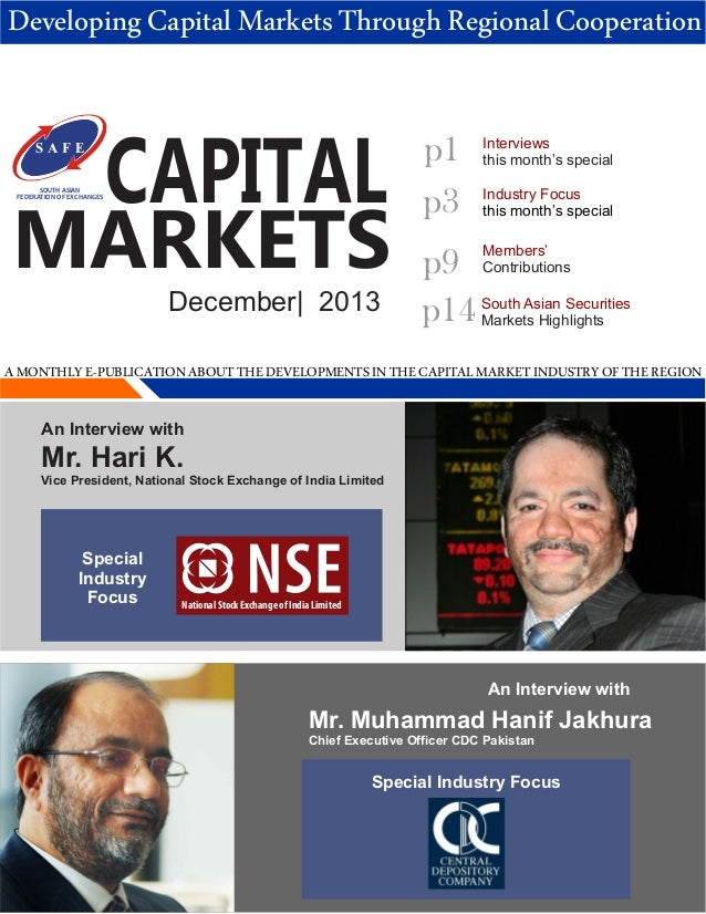 Developing Capital Markets Through Regional Cooperation  SOUTH ASIAN FEDERATION OF EXCHANGES  CAPITAL  MARKETS December| 2...