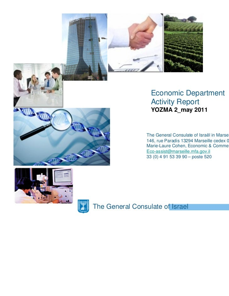 Economic Department                  Activity Report                  YOZMA 2_may 2011                 The General Consula...