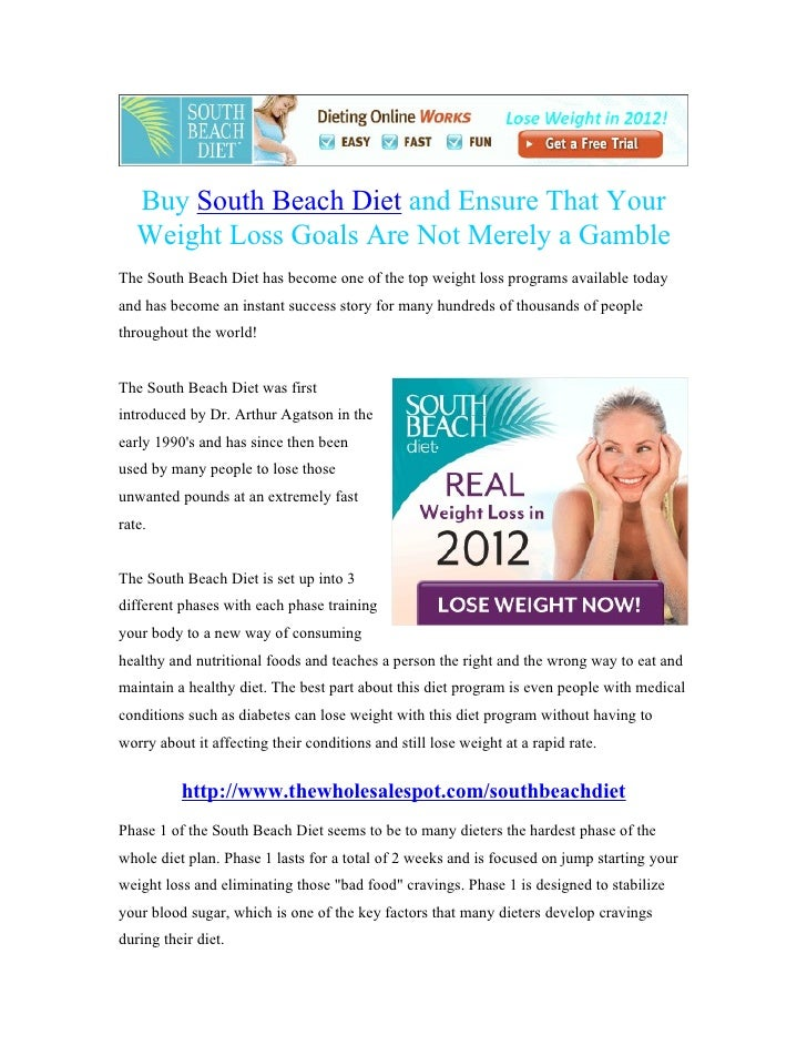 Buy South Beach Diet and Ensure That Your   Weight Loss Goals Are Not Merely a GambleThe South Beach Diet has become one o...