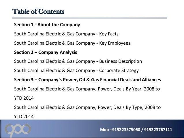 south carolina electricity and gas company essay South carolina electric & gas company - strategic swot analysis review   executive biographies – a brief summary of the executives'.