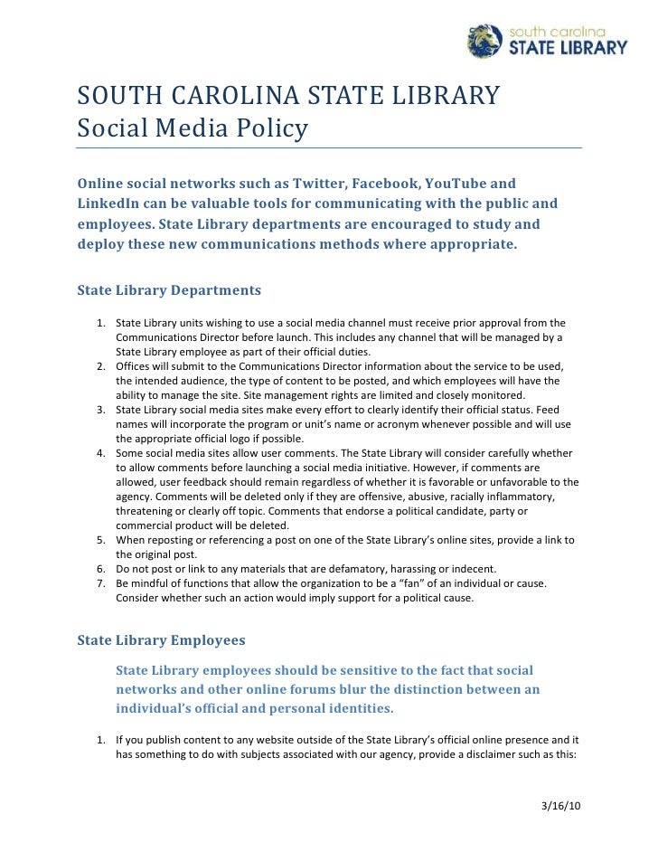 4584700-647700SOUTH CAROLINA STATE LIBRARY<br />Social Media Policy<br />Online social networks such as Twitter, Facebook,...