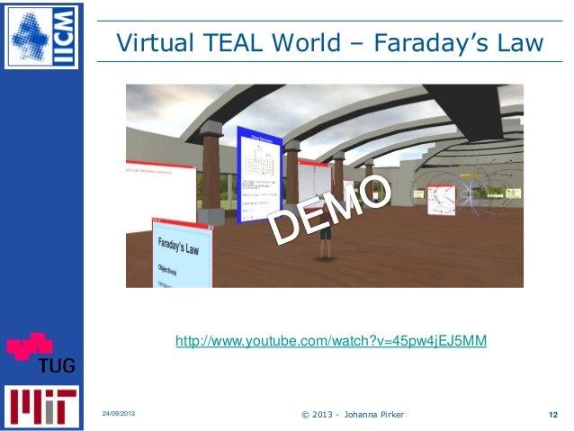 Virtual TEAL World – Faraday's Law © 2013 - Johanna Pirker24/09/2013 12 http://www.youtube.com/watch?v=45pw4jEJ5MM