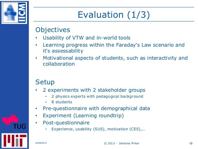 Evaluation (1/3) Objectives • Usability of VTW and in-world tools • Learning progress within the Faraday's Law scenario an...