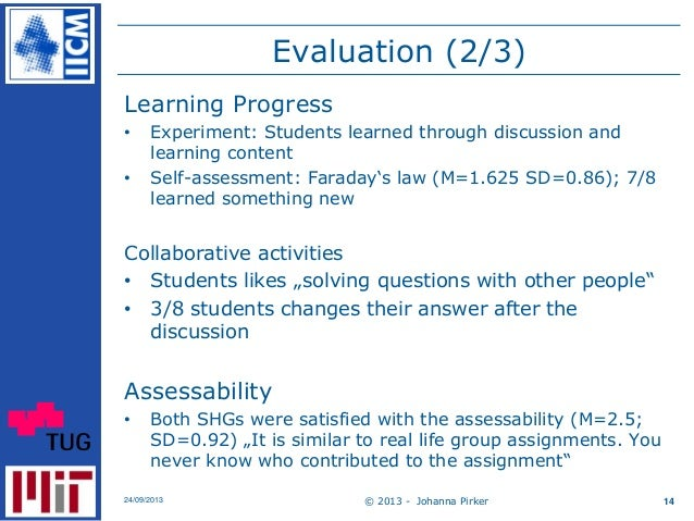 Evaluation (2/3) Learning Progress • Experiment: Students learned through discussion and learning content • Self-assessmen...