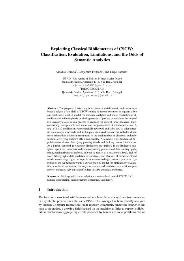 Exploiting Classical Bibliometrics of CSCW: Classification, Evaluation, Limitations, and the Odds of Semantic Analytics An...