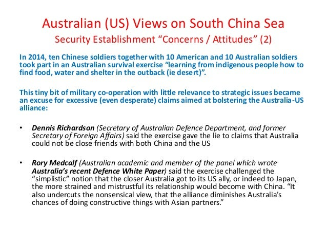 """Australian (US) Views on South China Sea Security Establishment """"Concerns / Attitudes"""" (2) In 2014, ten Chinese soldiers t..."""