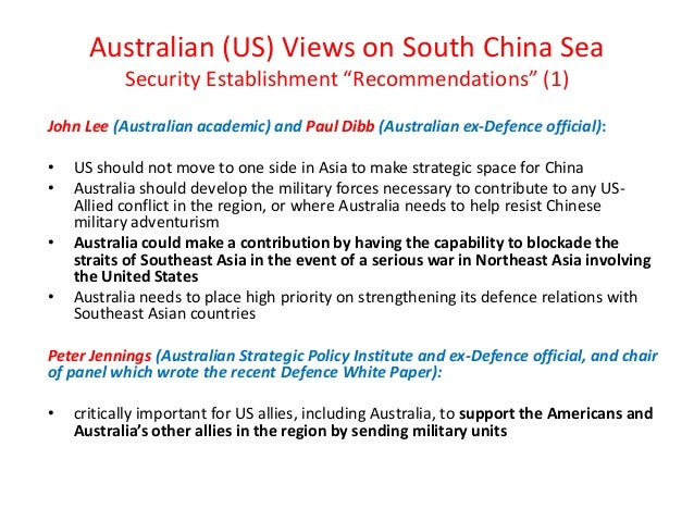 "Australian (US) Views on South China Sea Security Establishment ""Recommendations"" (1) John Lee (Australian academic) and P..."